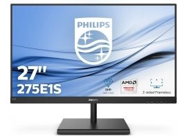 "PHILIPS 275E1S 00  27"" IPS 16:9  2560x1440  250cd m2 DisplayPort  HDMI  VGA  Black"