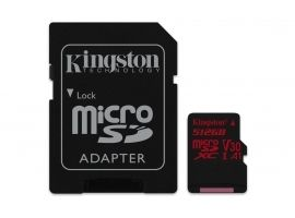 Karta micro SDXC Kingston 512GB 100R 80W UHS-I V30 A1Card