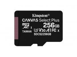 Kingston Canvas Select Plus UHS-I 256 GB  MicroSDXC  Flash memory class 10  SD Adapter