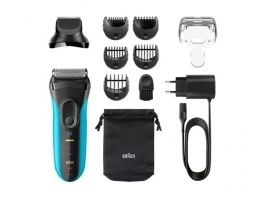 Braun Shaver with trimmer Series 3 Shave&Style 3010BT Cordless  Charging time 1 h  Operating time 45 min  Wet use  NiMH  Number of shaver heads blades 2  Black Blue