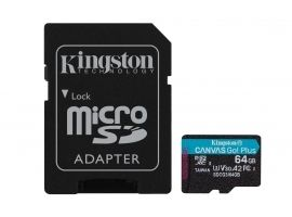 Kingston microSD Canvas Go! Plus 64 GB  MicroSD  Flash memory class 10  SD Adapter