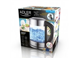 Adler Kettle AD 1247 NEW With electronic control  1850 - 2200 W  1.7 L  Stainless steel  glass  Stainless steel Transparent  360° rotational base