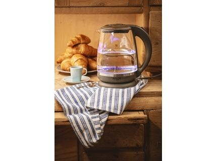 Adler Kettle AD 1286 Standard  2200 W  2 L  Plastic  glass  Grey  transparent  360° rotational base