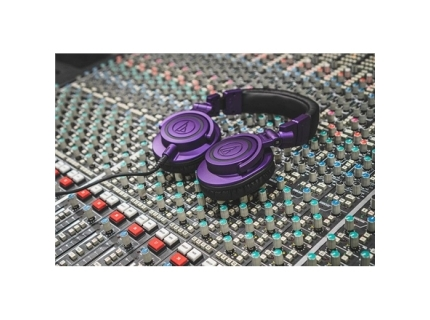 "Audio Technica Wireless Over-Ear Headphones ATH-M50xPB  Over-ear  3.5mm TRS Plug and 1 4"" Screw-On Adapter  Purple Black"